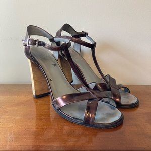Gucci Purple Patent Leather Stacked Heels 8.5